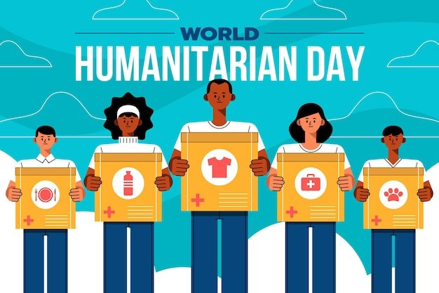フラットな世界人道の日のイラスト
