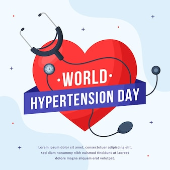 Flat world hypertension day illustration Free Vector