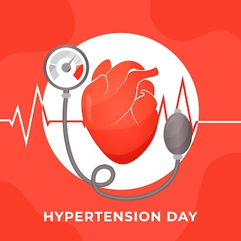 Flat world hypertension day illustration