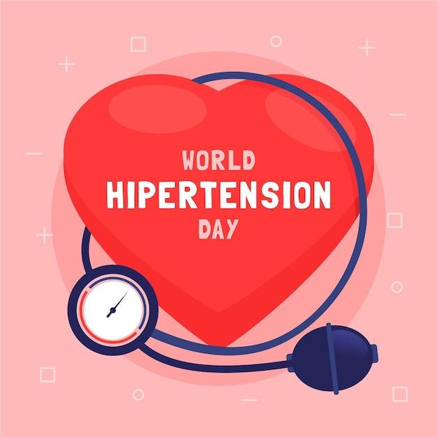 Flat world hypertension day illustration