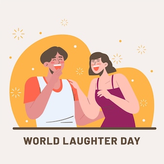 Flat world laughter day illustration