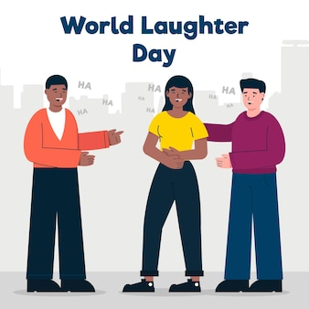 평면 세계 웃음의 날 그림