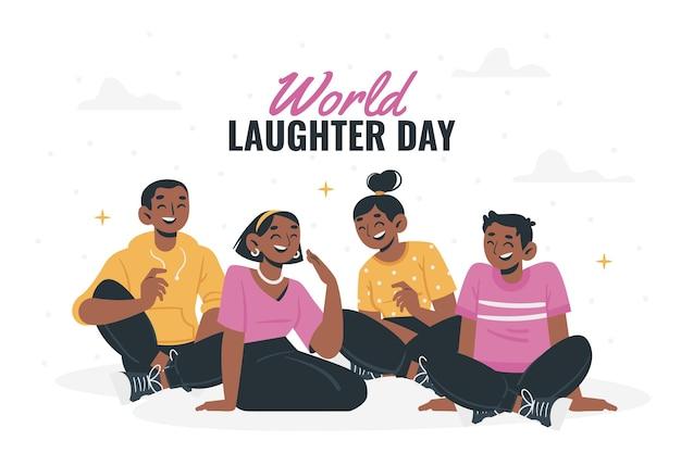 Flat world laughter day illustration