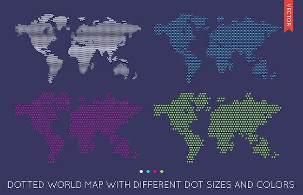 Flat world map infographic. map of the world.