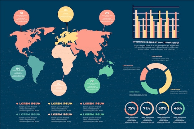 Flat world maps infographics