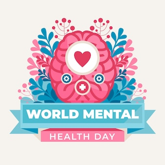 Плоский всемирный день психического здоровья иллюстрация
