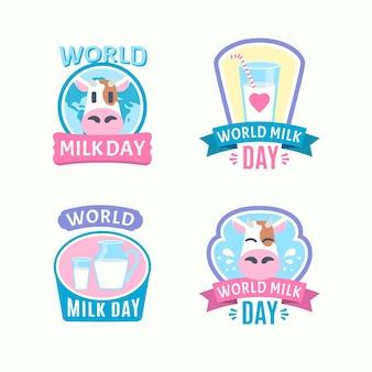 Плоская коллекция значков всемирного дня молока
