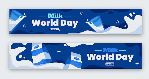 평면 세계 우유의 날 배너 세트