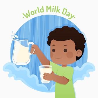 フラットな世界のミルクの日のイラスト