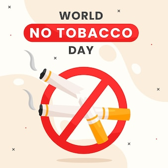 Flat world no tobacco day illustration