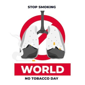 フラットな世界禁煙デーのイラスト