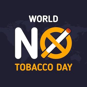 Flat world no tobacco day illustration