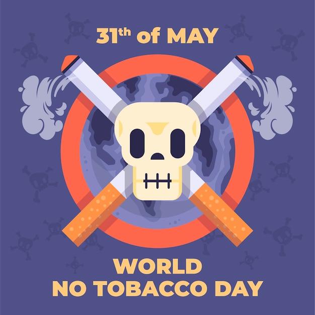 Плоский мир без табака иллюстрация Premium векторы