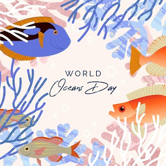 Flat world oceans day background