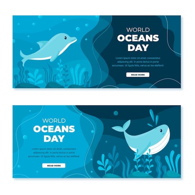 Flat world oceans day banner set