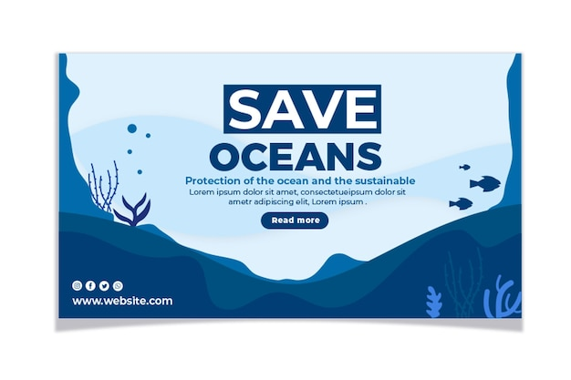 Плоский набор баннеров всемирного дня океанов