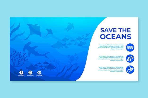 Modello di banner piatto giornata mondiale degli oceani
