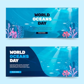 Flat world oceans day banners set