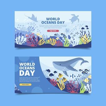 Set di banner piatto giornata mondiale degli oceani