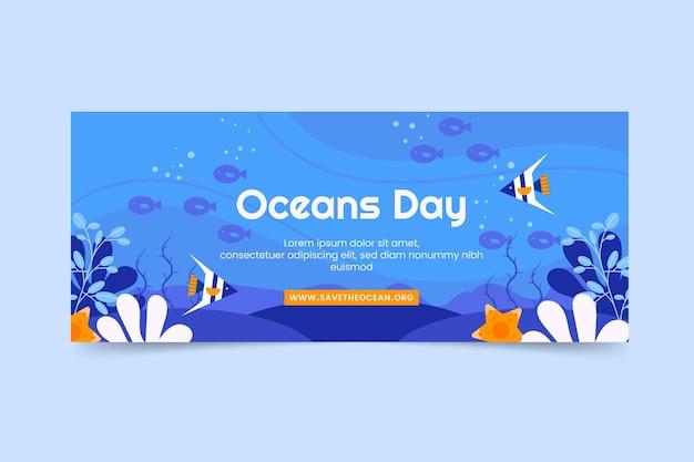평평한 세계 바다의 날 가로 배너 서식 파일