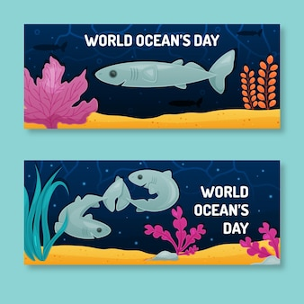Flat world oceans day horizontal banners
