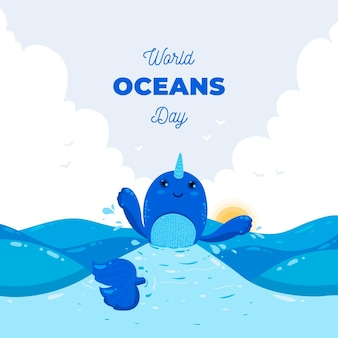 Flat world oceans day illustrated