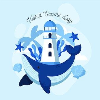 Flat world oceans day illustration