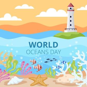 Flat world oceans day illustration