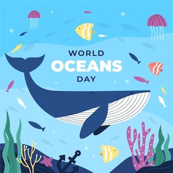 Illustrazione di giornata mondiale degli oceani piatta