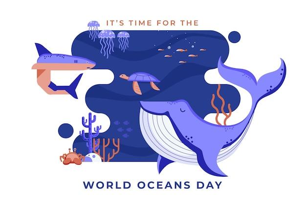 平らな世界海洋デーのイラスト