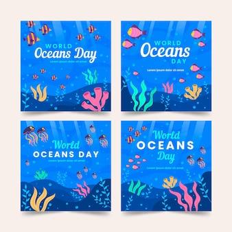 Плоский всемирный день океанов коллекция сообщений instagram
