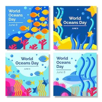 평평한 세계 해양의 날 instagram 게시물 모음 무료 벡터