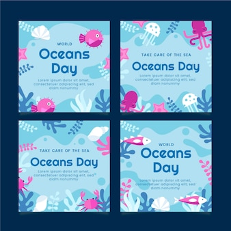 Flat world oceans day instagram posts collection