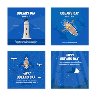 Flat world oceans day instagram posts collection Free Vector