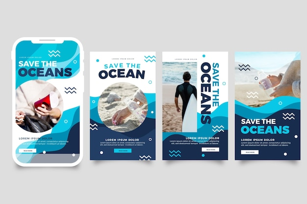 Flat world oceans day instagram stories collection