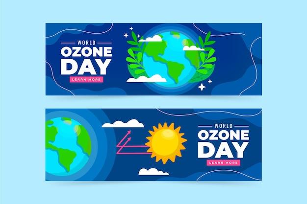 Set di banner piatto per la giornata mondiale dell'ozono