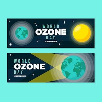 평평한 세계 오존의 날 가로 배너 세트