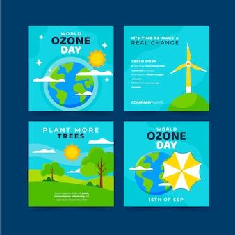 Collezione di post instagram per la giornata mondiale dell'ozono piatta