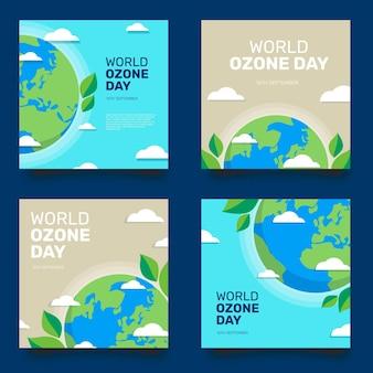 Raccolta di post di instagram per la giornata mondiale dell'ozono piatta