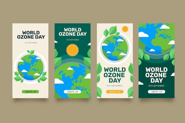 Raccolta di storie di instagram per la giornata mondiale dell'ozono piatta