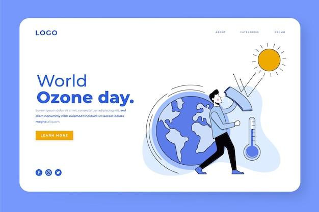 Modello di pagina di destinazione per la giornata mondiale dell'ozono piatta