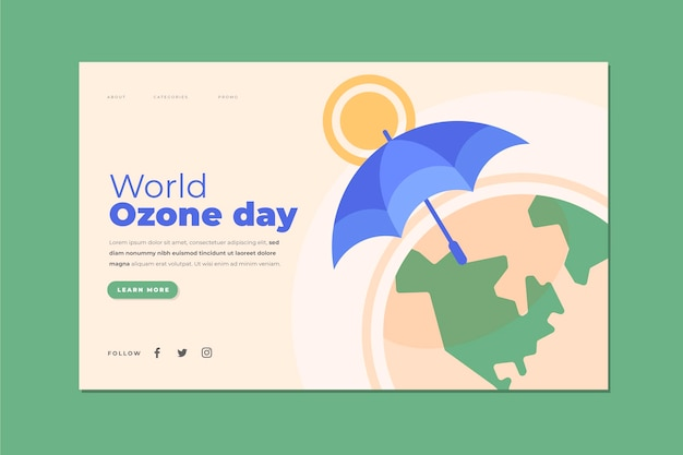 Плоский шаблон целевой страницы всемирного дня озона