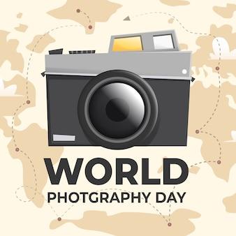 フラットな世界の写真の日のコンセプト