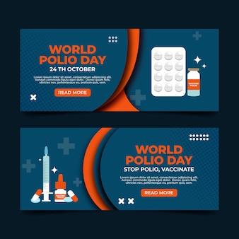 Flat world polio day horizontal banners set