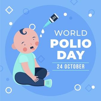 평평한 세계 소아마비의 날 그림