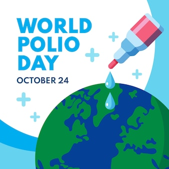 フラットワールドポリオの日のイラスト