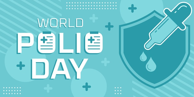 Плоский шаблон всемирного дня полиомиелита. вектор премиум
