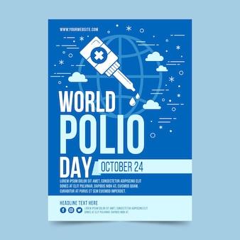 플랫 세계 소아마비의 날 세로 포스터 템플릿