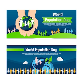 Flat world population day banners set
