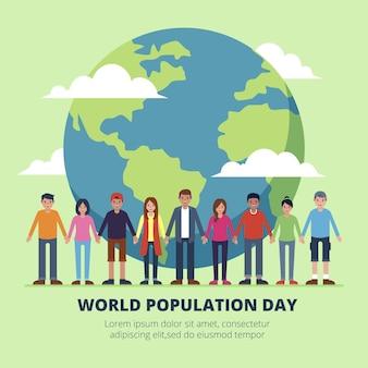 평면 세계 인구의 날 그림 무료 벡터